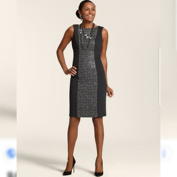485fef192d7 Chicos Talia Sequin Panel charcoal gray dress